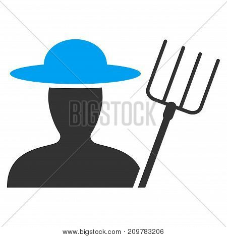 Farmer With Pitchfork vector icon. Flat bicolor blue and gray symbol. Pictogram is isolated on a white background. Designed for web and software interfaces.