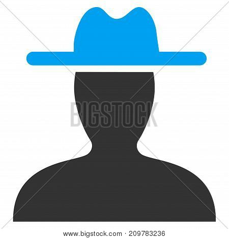 Farmer vector icon. Flat bicolor blue and gray symbol. Pictogram is isolated on a white background. Designed for web and software interfaces.