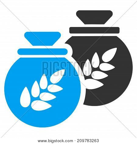 Grain Harvest Sacks vector icon. Flat bicolor blue and gray symbol. Pictogram is isolated on a white background. Designed for web and software interfaces.