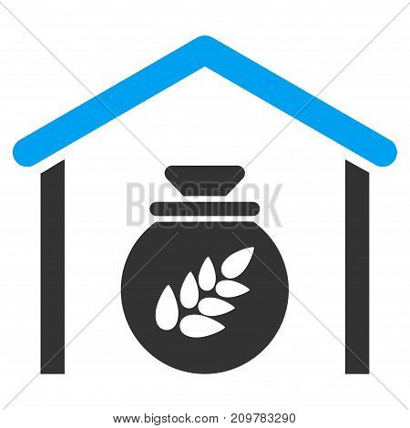 Grain Storage vector icon. Flat bicolor blue and gray symbol. Pictogram is isolated on a white background. Designed for web and software interfaces.