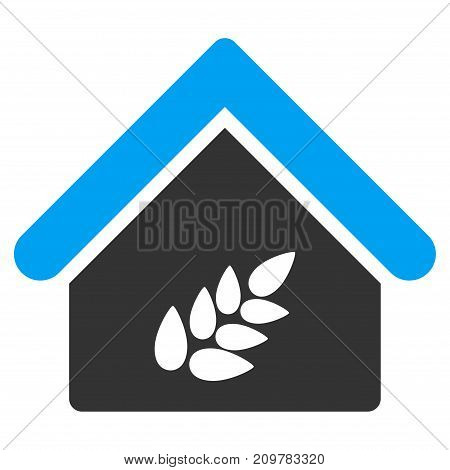 Grain Warehouse vector icon. Flat bicolor blue and gray symbol. Pictogram is isolated on a white background. Designed for web and software interfaces.