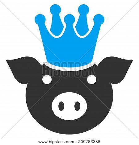 King Pig vector icon. Flat bicolor blue and gray symbol. Pictogram is isolated on a white background. Designed for web and software interfaces.