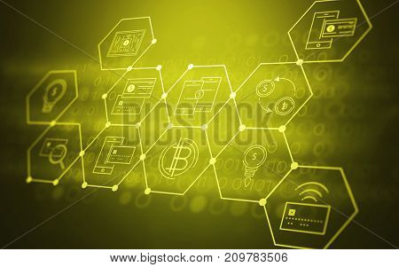 3D Abstract Futuristic Fintech Illustration Background with Technology Symbols about Bitcoin Currency