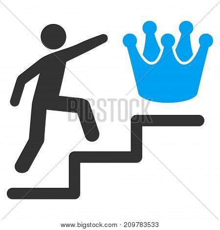 Person Steps To Crown vector icon. Flat bicolor blue and gray symbol. Pictogram is isolated on a white background. Designed for web and software interfaces.
