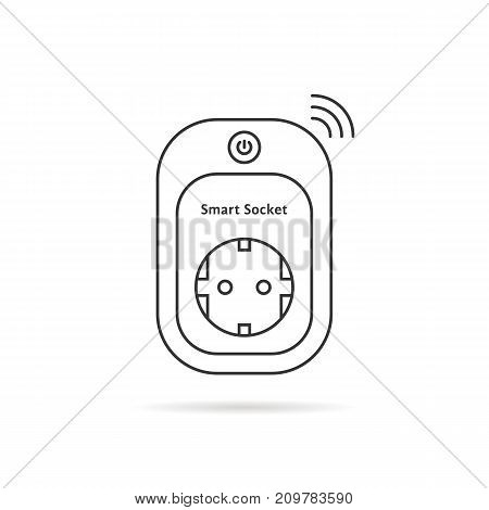 thin line smart power socket. concept of charger, electrical device on white background