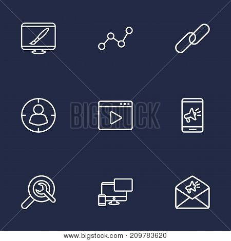 Collection Of Mobile, Video Marketing, Advertising And Other Elements.  Set Of 9 Engine Outline Icons Set.