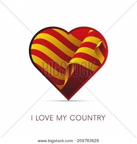 Catalonia flag in heart. I love my country. Sign. Vector illustration.
