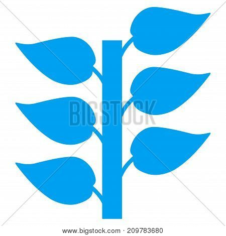 Flora Plant vector icon. Flat blue symbol. Pictogram is isolated on a white background. Designed for web and software interfaces.