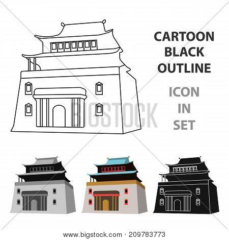 The three-storey building in Mongolia.Mongolian national Shrine of Mitarai.Mongolia single icon in cartoon style vector symbol stock web illustration.