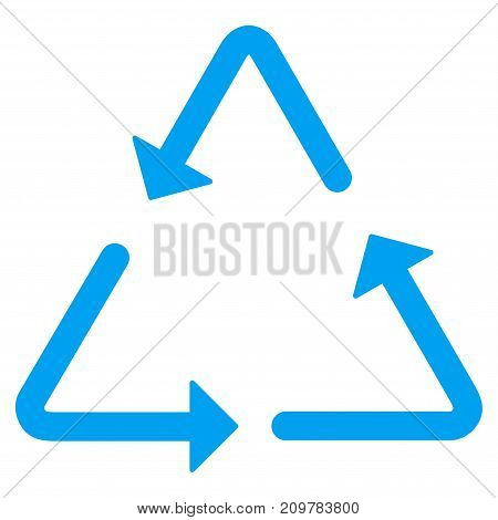 Recycling Triangle vector icon. Flat blue symbol. Pictogram is isolated on a white background. Designed for web and software interfaces.