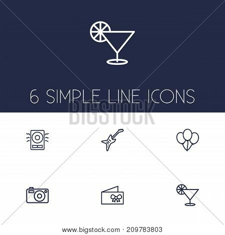 Collection Of Cocktail, Amplifier, Electro And Other Elements.  Set Of 6 Cheerful Outline Icons Set.