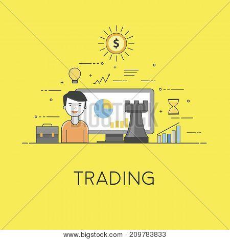Flat vector illustration. Concept illustration of smart technologies for business