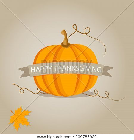 Holiday banner with pumpkin for Thanksgiving day