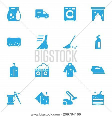 Collection Of Washhouse, Detergent, Besom And Other Elements.  Set Of 16 Harvesting Icons Set.