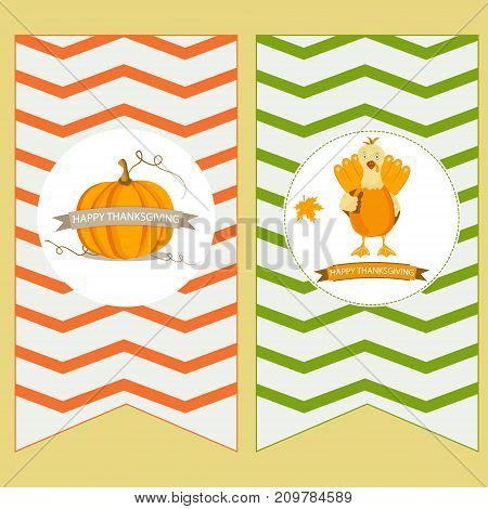 Holiday banners with pumpkin and turkey for Thanksgiving day