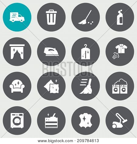 Collection Of Hoover, Garbage Container, Clothes And Other Elements.  Set Of 16 Cleaning Icons Set.