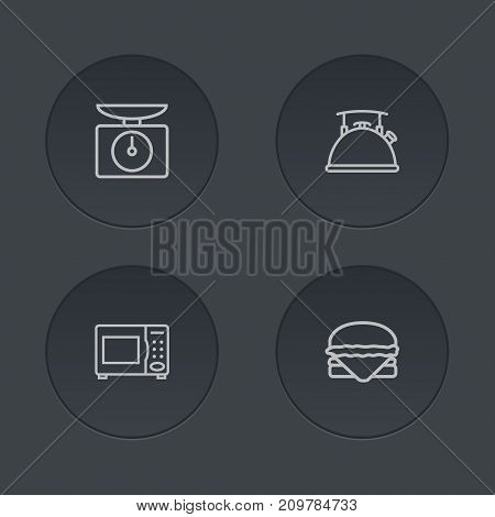 Collection Of Hamburger, Microwave, Scales And Other Elements.  Set Of 4 Kitchen Outline Icons Set.