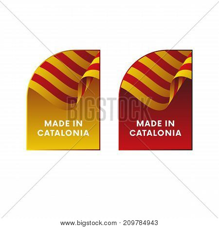 Stickers Made in Catalonia. Waving flag. Vector illustration.