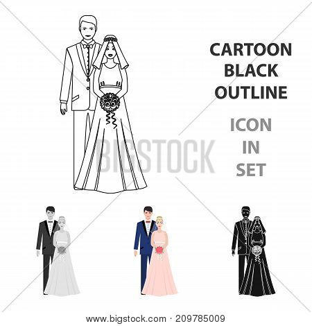 A man and a woman in beautiful outfits. The bride and groom at the wedding.Wedding single icon in cartoon style vector symbol stock web illustration.