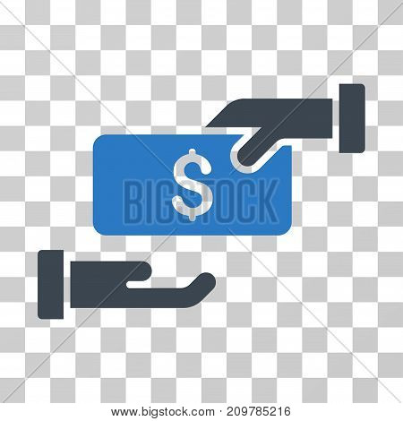 Bribe icon. Vector illustration style is flat iconic bicolor symbol, smooth blue colors, transparent background. Designed for web and software interfaces.