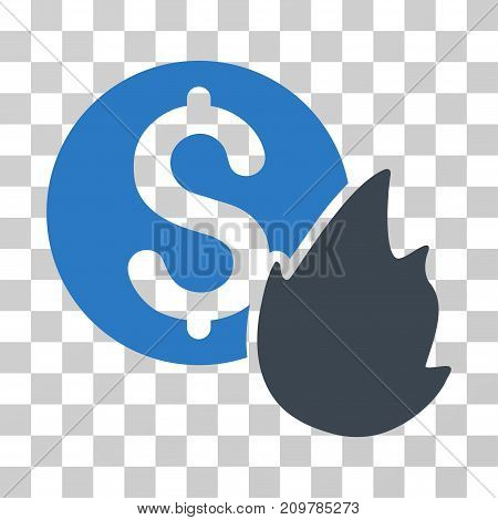 Burn Money icon. Vector illustration style is flat iconic bicolor symbol, smooth blue colors, transparent background. Designed for web and software interfaces.
