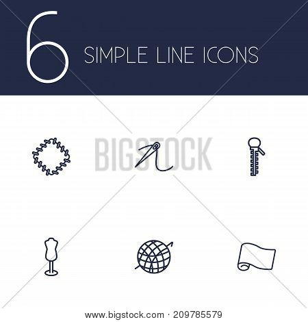 Collection Of Crochet, Needle, Dummy And Other Elements.  Set Of 6 Tailor Outline Icons Set.