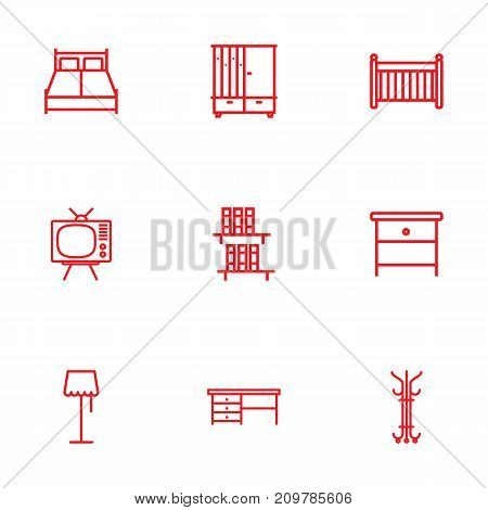 Collection Of Hall Tree, Double Bed, Desk And Other Elements.  Set Of 9 Decor Outline Icons Set.