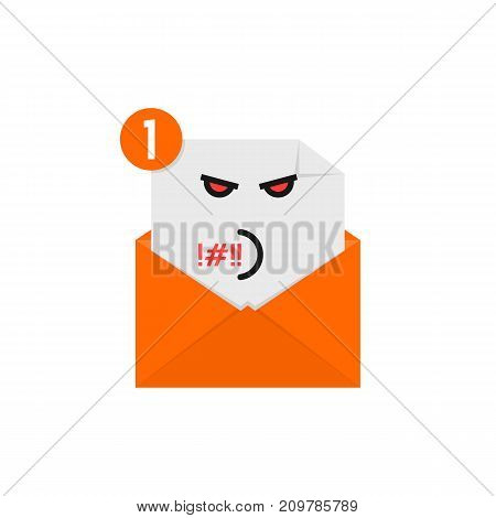 rude emoji in orange letter notification. concept of newsletter, spam, negative e-mail on white background