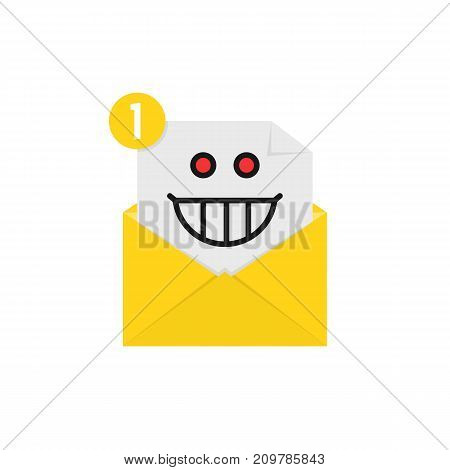 mad emoji in yellow letter notification. concept of spam, receive e-mail, loony, postal card, facial, dumb, lunatic mood on white background