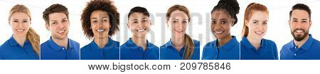 Collage Of Happy Janitors In Blue Uniform Over White Background