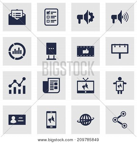 Collection Of Bullhorn, World, Loudspeaker And Other Elements.  Set Of 16 Commercial Icons Set.