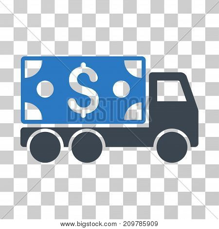 Cash Delivery icon. Vector illustration style is flat iconic bicolor symbol, smooth blue colors, transparent background. Designed for web and software interfaces.