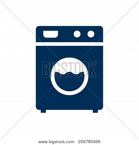 Vector Washer Machine Element In Trendy Style.  Isolated Laundromat Icon Symbol On Clean Background.