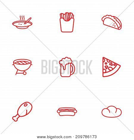 Collection Of Mexican Food, Pepperoni, Soup And Other Elements.  Set Of 9 Food Outline Icons Set.