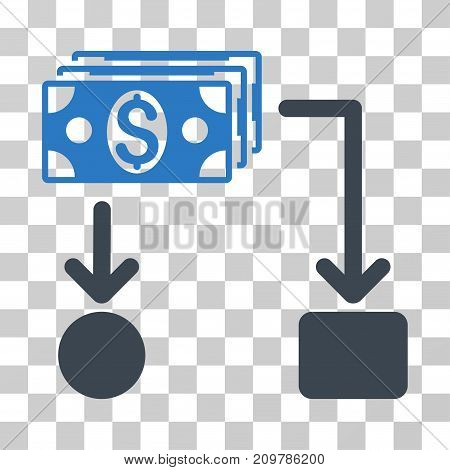 Cashflow icon. Vector illustration style is flat iconic bicolor symbol, smooth blue colors, transparent background. Designed for web and software interfaces.