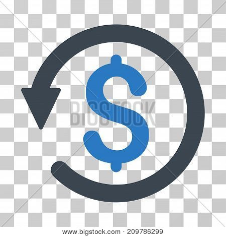 Chargeback icon. Vector illustration style is flat iconic bicolor symbol, smooth blue colors, transparent background. Designed for web and software interfaces.