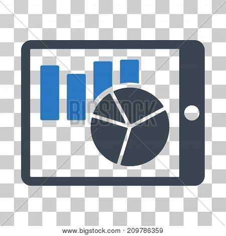 Charts On PDA icon. Vector illustration style is flat iconic bicolor symbol, smooth blue colors, transparent background. Designed for web and software interfaces.