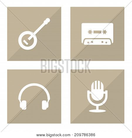 Collection Of Banjo, Earphones, Tape And Other Elements.  Set Of 4 Song Icons Set.