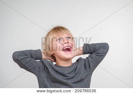 New portrait of handsome happy caucasian child