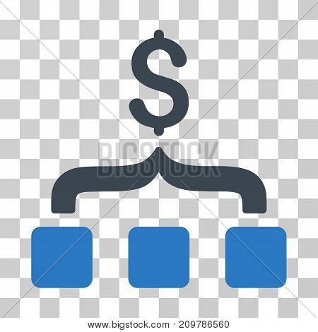 Collect Money icon. Vector illustration style is flat iconic bicolor symbol, smooth blue colors, transparent background. Designed for web and software interfaces.