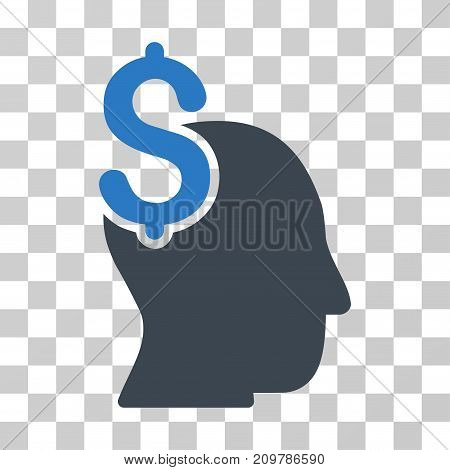 Commercial Intellect icon. Vector illustration style is flat iconic bicolor symbol, smooth blue colors, transparent background. Designed for web and software interfaces.