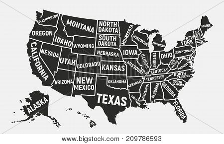 United States of America map. Poster map of USA with state names. American background. Vector illustration