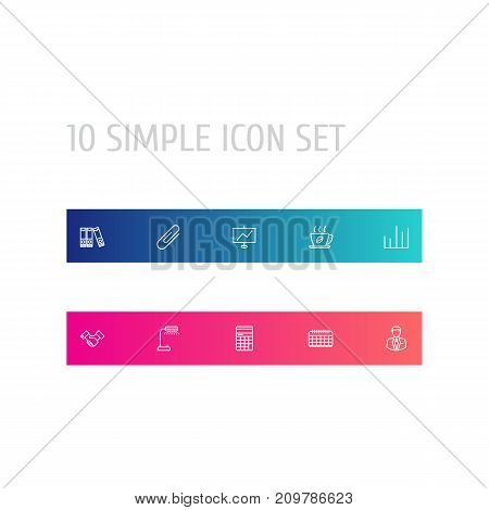 Collection Of Administrator, Document Case, Show And Other Elements.  Set Of 10 Cabinet Outline Icons Set.