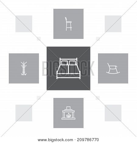 Collection Of Bar Stool, Hanger, Fireplace And Other Elements.  Set Of 5 Set Outline Icons Set.