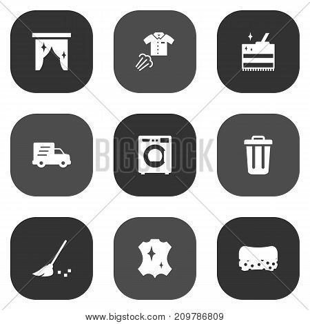 Collection Of Skin, Garbage Container, Wisp And Other Elements.  Set Of 9 Cleaning Icons Set.