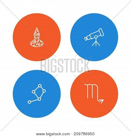Collection Of Constellation, Telescope, Astrologer And Other Elements.  Set Of 4 Astronomy Outline Icons Set.