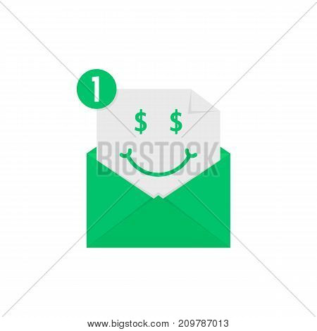 rich emoji in green letter notification. concept of win, wealthy, cash on white background