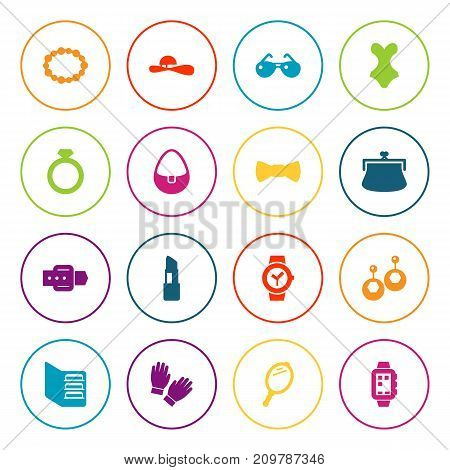 Collection Of Pomade, Beachwear, Purse And Other Elements.  Set Of 16 Accessories Icons Set.