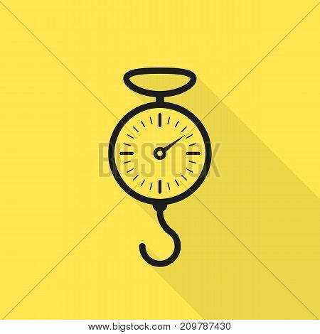 spring scale black icon with long shadow. concept of indicator, front view, gramme, tension, gauge, steel machine, gravity, spiral mechanism. flat style modern logo graphic design on yellow background
