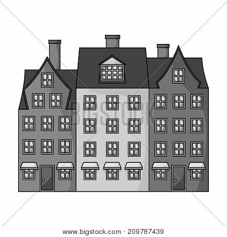 Building single icon in monochrome style.Building, vector symbol stock illustration .